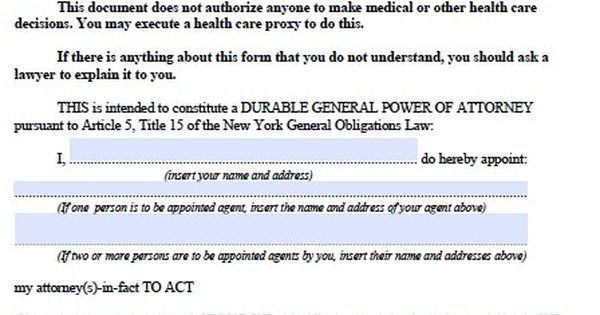 Free Durable Power of Attorney New York Form u2013 Adobe PDF #template - general power of attorney forms
