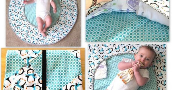 Travel Play Mat with Hidden Storage. Plus this site has some really