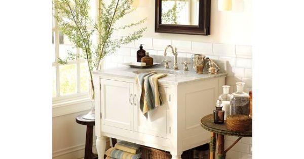 White Barn Sink : Newport Single Sink Console - White Pottery Barn Island house ...