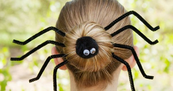 Dress up a simple bun with this silly spider Halloween hairdo! Quick and easy and perfect for Halloween! | See more about Hairdos, Spiders and Halloween.