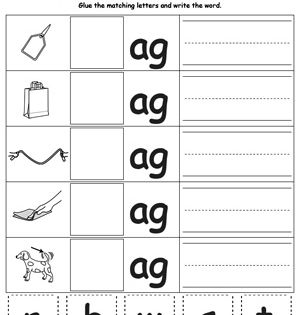 Ag Word Family Match Letter And Write The Word Kindergarten Word Families Word Families Word Family Worksheets