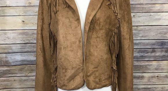 Crescent Open Front Faux Suede Fringe Jacket Cognac Blazer Stitch Fix NWT