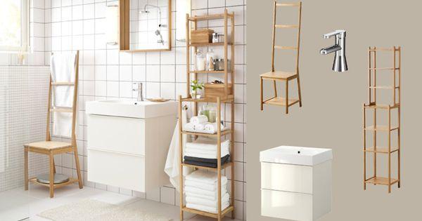 Idee opfrissen badkamer witte muren witte kast onder wastafel en spiegel pimpen met hout - Idee kast onder helling ...