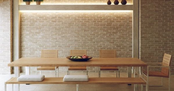 Neutral Exposed Brick Dining Room Wall Decals