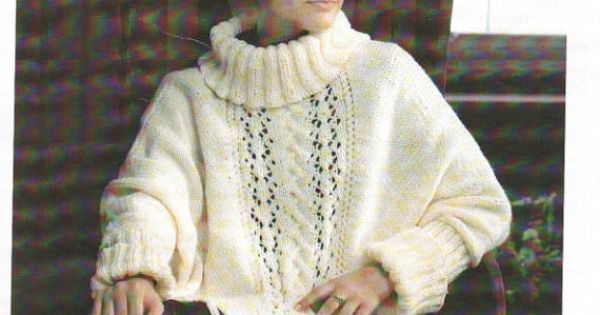 Knitting Pattern Poncho With Sleeves : Knit Poncho with sleeves Vintage Pattern by VintagePatternPDF SHAWLS, SCARV...