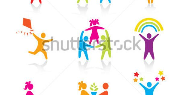 Stock Vector Set Of Icons Silhouette Family Woman
