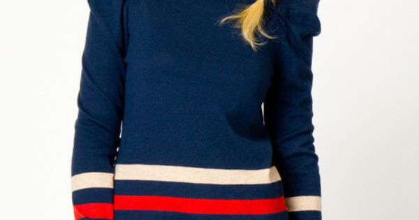 Navy sweater with puffy sleeves