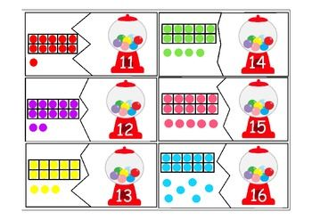Gumball Ten Frames For 11 19 1 10 Kindergarten Math Activities Math Teens Math Activities