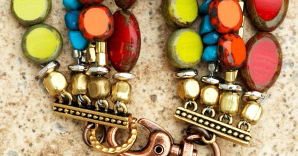 Caribbean-Inspired Bracelet: Red, Orange and Chartreuse Glass, Turquoise, Brass and Silver Heart