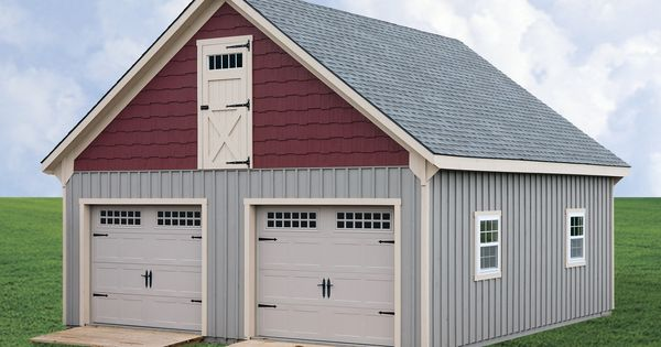 Horizon structures 24x26 raised roof 2 car 2 story for Two story prefab garages