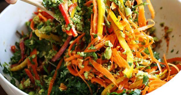 Chopped Thai Salad with Sesame Garlic Dressing - a rainbow of power