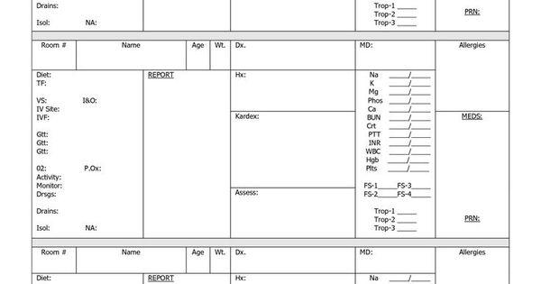 Nursing Report Sheets Nurses Templates: