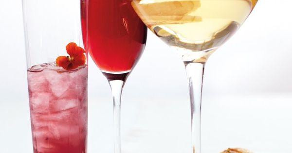 Sparkling Red Rose: sparkling red wine, rose water & strawberries {Martha Stewart}