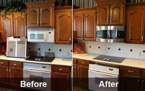 Before and after restaining kitchen cabinets painting kitchen cabinets pinterest Restaining kitchen table
