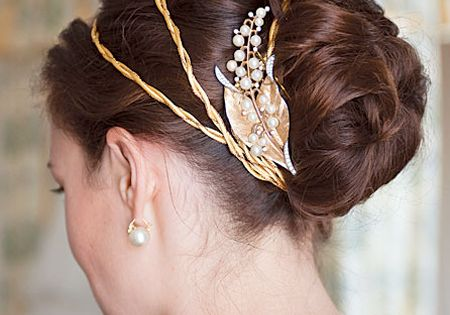 Classic updo with vintage-y gold accessories weddings weddinghairstyles