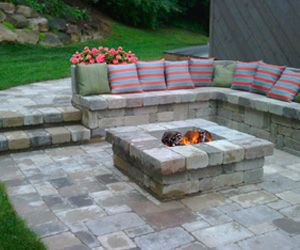 Built In Seating Square Fire Pit Backyard Backyard Fire Fire Pit Seating