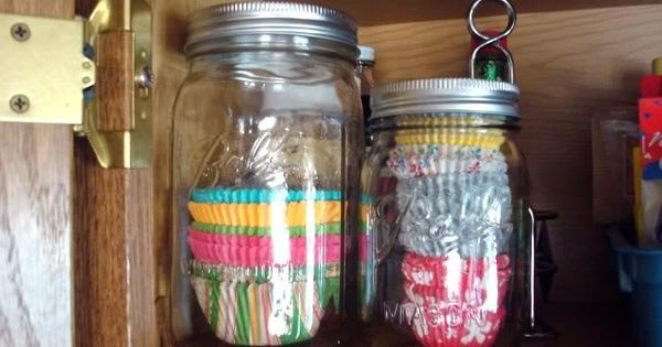 store cupcake liners in mason jars - I always have extras and