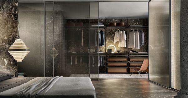 Zenit walk-in closet with brown aluminum uprights, castoro - schöne farben für schlafzimmer