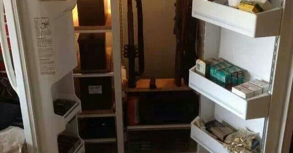 convert old fridge into gun storagereplace hinges and