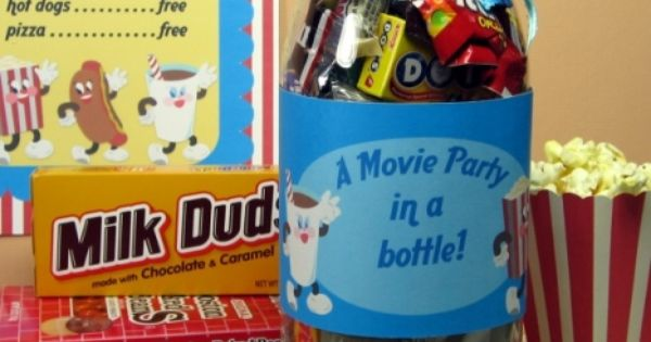 movie party in a bottle, perfect for care package