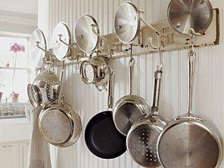 Kitchen Open Rail Storage Systems Remodelista Pot Rack Modern Kitchen Storage Kitchen Storage Solutions