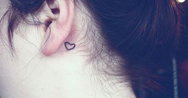 Little heart tattoo behind ear