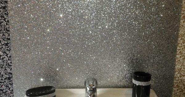 Sparkle bathroom pinterest ceiling glitter for Glitter bathroom wallpaper