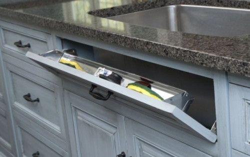 20 Smart Kitchen Storage Ideas : Under sink storage for sponges. Can