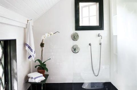 Dark Stone floors, white walls. Large open shower