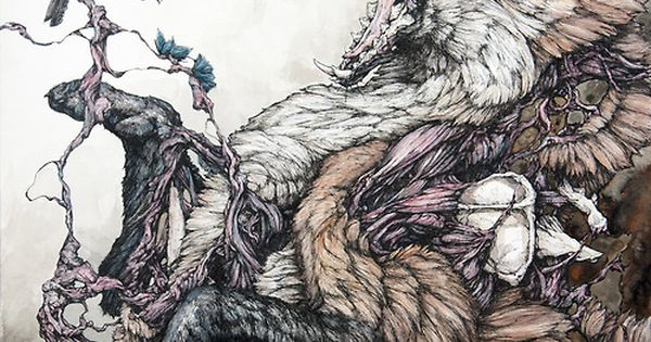 red-lipstick: Lauren Marx - Red Fox and Indigo Bunting                      Drawings http://www.juxtapoz.com/Gallery/laurenmarx/laurenmarx12-45161laurenmarx5-45157