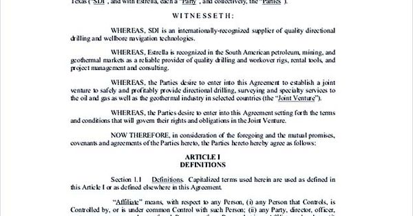 Free Donwload Joint Venture Agreement , Joint Venture Agreement - free joint venture agreement template