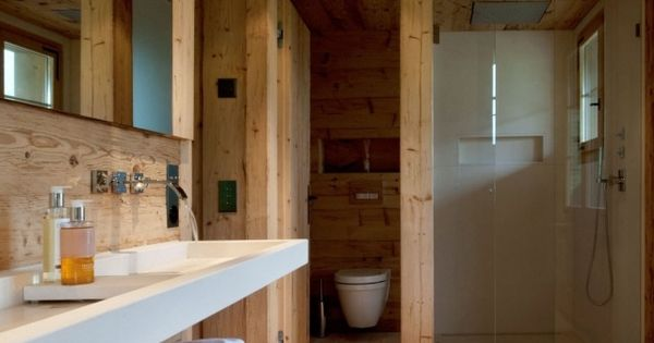 badezimmer rustikal echtholz begehbare dusche glaswand ...