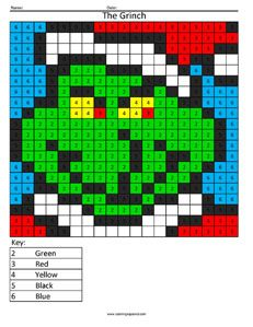 Christmas Coloring Pixel Color Christmas Math Grinch Coloring Pages Christmas Multiplication