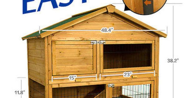 New 48 4 deluxe portable rabbit hutch hen house chicken for Portable hen house