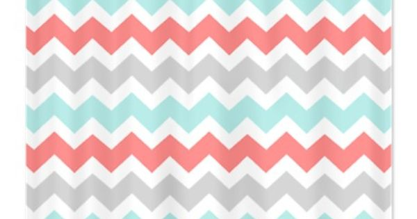Coral Aqua Grey White Chevron Shower Curtain Coral Aqua Aqua And Coral