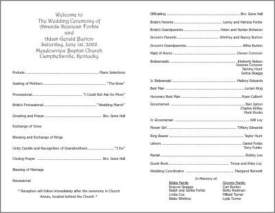 Wedding Programs Examples On Wedding Programs Sample Front Wedding Program Sample Ceremony Sample Program Template Wedding Programs Template Wedding Programs