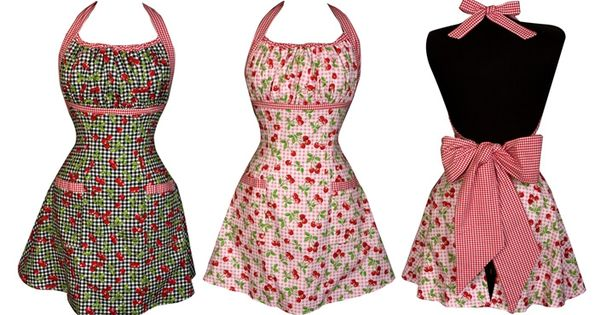 Sweet Cherry Halter Apron. Darling holiday gift ideas