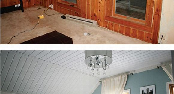 A quick solution for wood paneling add paint ceiling Ways to update wood paneling