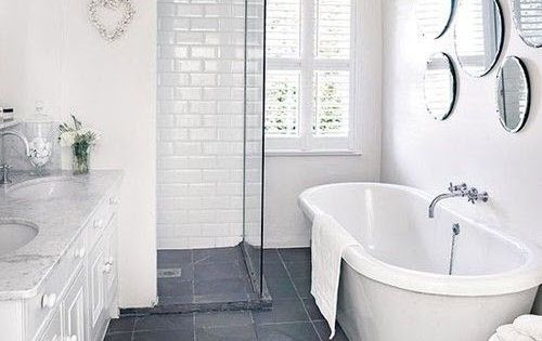 Bathroom grey tile - 40 Grey Slate Bathroom Floor Tiles Ideas And Pictures