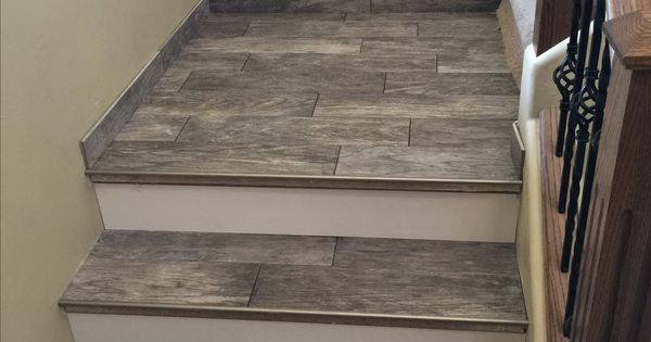 Porcelain Wood Look Tile Stairs Design And Build Pinterest Tile Stairs Porcelain And Woods