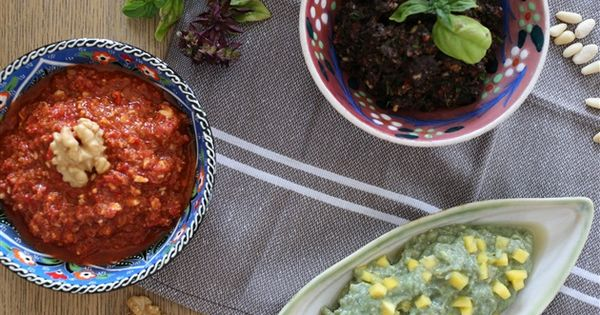 the dips; muammara, black olive pesto, avocado mash with mango | in ...