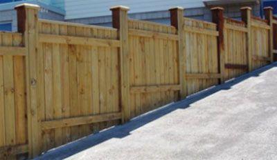 Image Result For Wood Fence Double Gate On Slope Sloped Yard Backyard Fences Close Board Fencing