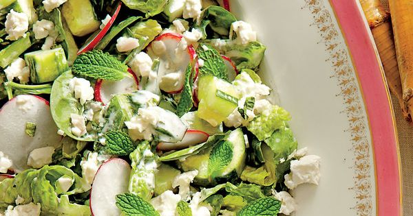-and-Romaine Salad with Cucumbers, Radishes, and Creamy Mint Dressing ...