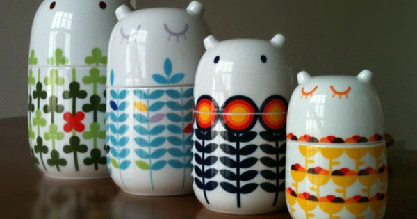 so cute ! Storage Jars. Clearly the lovechildren of Tove Jansson and