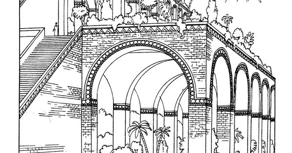 Hanging Gardens Of Babylon Coloring Page Free Printable Coloring
