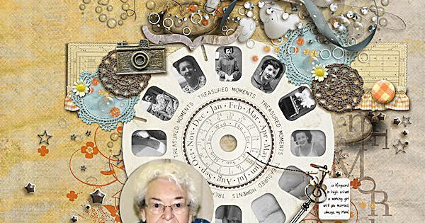 """memories"" scrapbook page. love the idea of the center view master wheel"