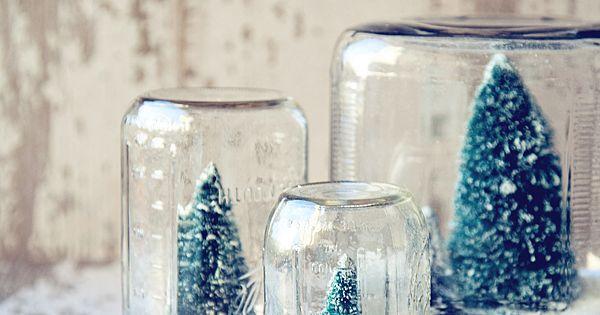 Diy snow globes. Easy.... Mason jars, fake snow, tiny Xmas trees... Cute!