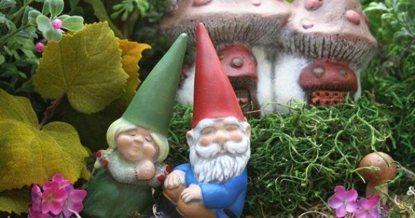 Gnome Garden: Miniature Garden Gnomes Concrete Vintage Style Mr & Mrs