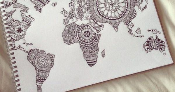 Weltkarte mandala tattoo pinterest weltkarte zeichnungen und kraftpapier - Pinterest weltkarte ...