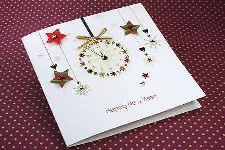 Handmade New Year Card New Year Clock Happy New Year Cards